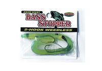 Bass Stopper - 2 Weedless Hooks - Chartreuse Black Stripe