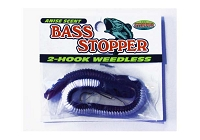 Bass Stopper - 2 Weedless Hooks - Purple White Stripe
